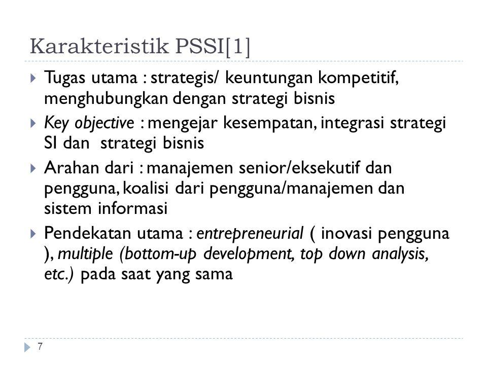 Karakteristik PSSI[1] Tugas utama : strategis/ keuntungan kompetitif, menghubungkan dengan strategi bisnis.